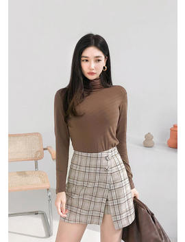 Archives Check Button Skirt by Chuu