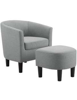 Camilla Fabric Barrel Chair With Ottoman Set by Generic