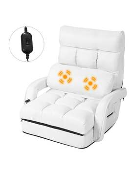 Gymax White Folding Lazy Sofa Floor Chair Sofa Lounger Bed With Armrests And Pillow by Generic