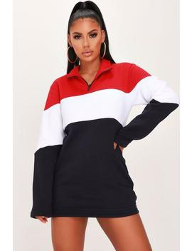 Navy Colour Block Zip Up Dress by I Saw It First