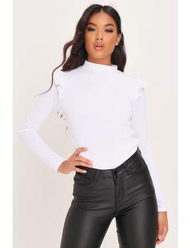 White High Neck Frill Shoulder Ribbed Top by I Saw It First