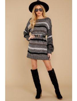Side By Side Charcoal Multi Stripe Sweater Dress by Saints & Hearts