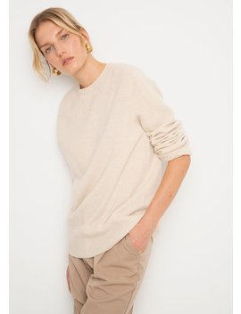 Wool & Cashmere Crewneck Sweater In Soft Beige by The Frankie Shop