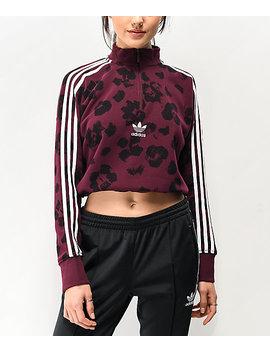 Adidas Dark Floral Quarter Zip Crop Sweatshirt by Adidas