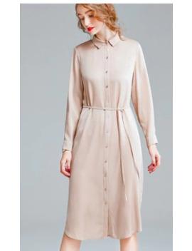 Ennes 2020 New Women's Spring Wear Hangzhou Mulberry Silk Long Sleeve Shirt Dress Heavy Silk Satin Dress by Ali Express.Com