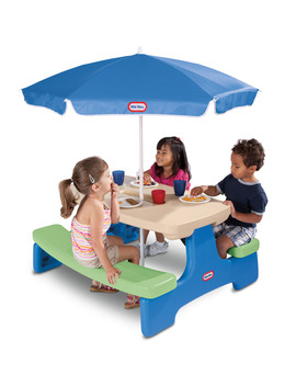 Little Tikes Easy Store Kids Picnic Table With Umbrella by Little Tikes