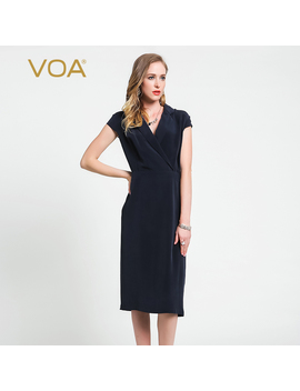 Voa 2019 Fall Fashion Deep Navy Blue Heavy Silk Office Lady Slim Pencil Dress V Neck Plus Size Formal Women Dresses A6059 by Ali Express.Com