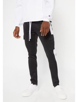 Black Cargo Side Striped Track Pants by Rue21