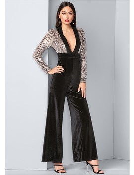 Sequin Velvet Jumpsuit by Venus