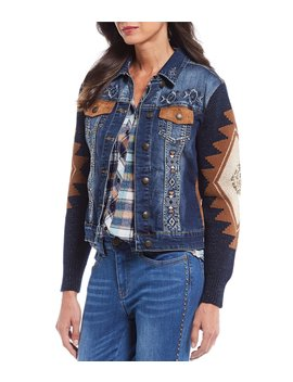 Embroidered Faux Suede Back Panels Jacquard Sweater Sleeve Sequin Denim Trucker Jacket by Reba