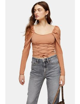 Neutral Long Sleeve Corset Top by Topshop