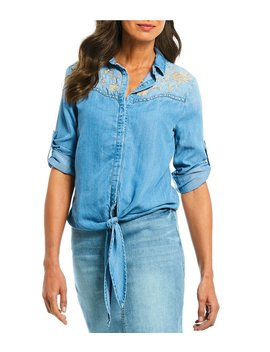 Chambray Tie Hem Button Front Shirt by Reba
