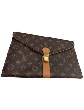 1980s Vintage Clutch/ Purse Brown Leather Clutch by Louis Vuitton