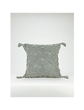 Green Tufted Tassel Cushion by Asda