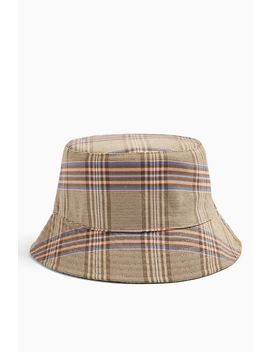 Brown Check Bucket Hat by Topshop