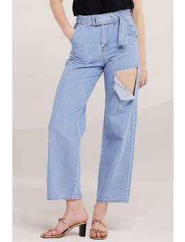 Louisa Belted Slash Ripped Jeans by Storets