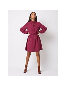 Plum Tie Neck Tea Dress by Asda