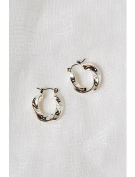 Doherty Twisted Silver Mini Hoop by Dissh
