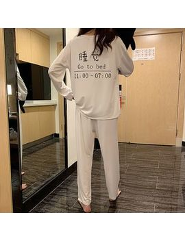 Melon Juice   Pajama Set: Lettering Long Sleeve T Shirt + Pants by Melon Juice