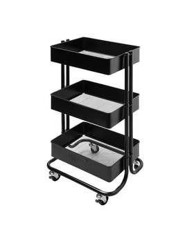 Darice 3 Tiered Metal Rolling Storage Cart   Matte Black Craft Supply Organizer For Home, Office, Art Or School Supplies by Generic