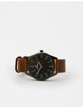 Contrast Brown Faux Leather Watch by Pull & Bear
