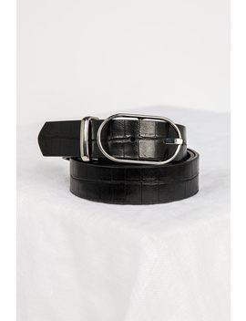 Stand Back Black Silver Croc Belt by Dissh
