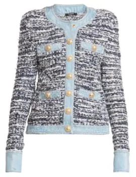 Tweed & Denim Jacket by Balmain