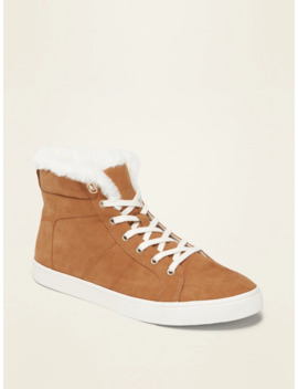 Sueded Faux Fur Lined High Tops For Women by Old Navy