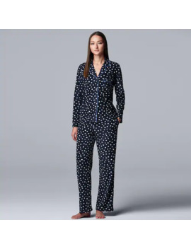 Women's Simply Vera Vera Wang Missy Long Sleeve Fleece Notch Collar Pajama Set by Simply Vera Vera Wang