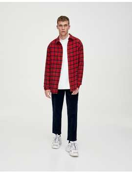 Rood Geruit Katoenen Overhemd by Pull & Bear