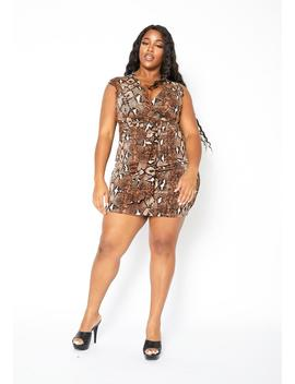 Asoph Plus Size Brown Snakeskin Womens Tank Mini Dress by Asoph