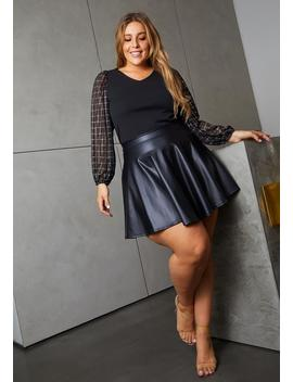 Asoph Plus Size Womens Faux Leather High Waisted Mini Circle Skirt by Asoph