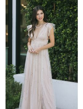 Wendy Tulle Ruffle Sleeve Maxi Dress by Morning Lavender