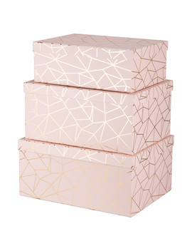 Set Of 3 Pink Geometric Storage Boxes   Pink by The Range