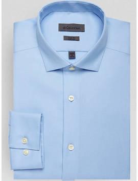Calvin Klein Blue Ice Tonal Stripe Slim Fit Dress Shirt by Calvin Klein