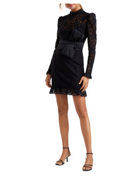 Mock Neck Long Sleeve Lace Mini Dress W/ Bow by Ever New
