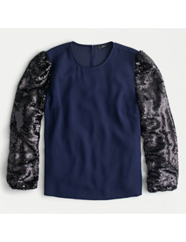 Sequin Sleeve Crepe Blouse by J.Crew