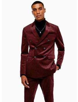 Burgundy Corduroy Double Breasted Super Skinny Fit Suit Blazer With Peak Lapels by Topman