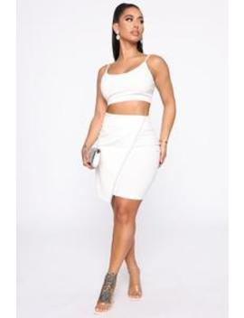 I'm A Diamond Skirt Set   White by Fashion Nova