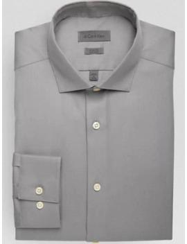 Calvin Klein Medium Gray Tonal Stripe Slim Fit Dress Shirt by Calvin Klein