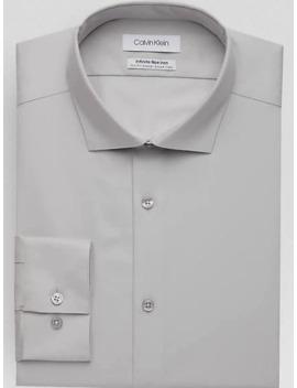 Calvin Klein Infinite Non Iron Gray Houndstooth Slim Fit Dress Shirt by Calvin Klein