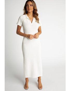 Milano White Collar Knit Midi Dress by Dissh
