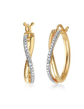 Genuine 0.01 Carat Natural Diamond Accent Twisted Hoop Earrings In 14 K Yellow Gold Plated by Diamond Princess