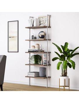 Natural Light Brown Wood, White Metal Frame Moskowitz Ladder Bookcase by Allmodern