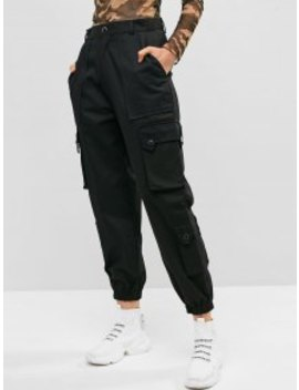 Hot Pockets Solid Color Cargo Jogger Pants   Black M by Zaful