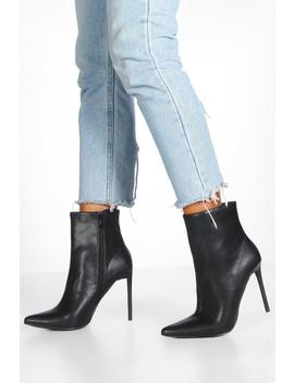 Glossy Heel Pointed Shoe Boots by Boohoo