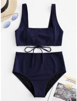 Salezaful Textured Tie Tank Bikini Set   Midnight Blue L by Zaful