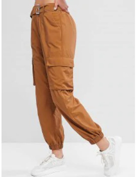 Zaful High Waisted Belted Pocket Jogger Pants   Wood S by Zaful