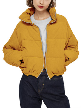 Ma Croix Women's Quilted High Collar Fluffy Crop Puffer Corduroy Jacket by Ma Croix
