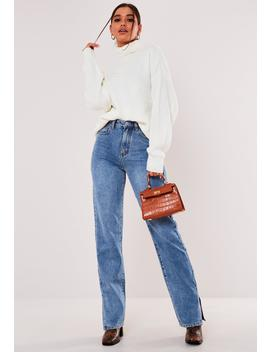 Tall Premium White Boyfriend Roll Neck Sweater by Missguided
